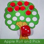 SnapWidget | apple roll and pick ... children roll the dice and remove the same number of apples from the tree ... patterns can be found at childcareland.com/home/apple-roll-and-pick #edchat #ece #earlyed #prek #preschool #homeschool #childcare #kindergarten