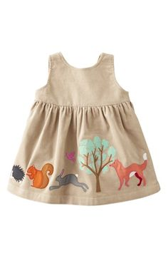 Mini Boden Appliqué Dress (Forest Animals)