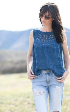 Summer Vacation Easy Crocheted Top Pattern – Mama In A Stitch Basic Crochet Stitches, Crochet Basics, Crochet For Beginners, Knit Crochet, Crochet Patterns, Beginner Crochet, Crochet Vests, Crochet Edgings, Crochet Shirt