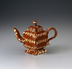 Staffordshire, England Teapot, ca. 1740. Earthenware (agate ware)