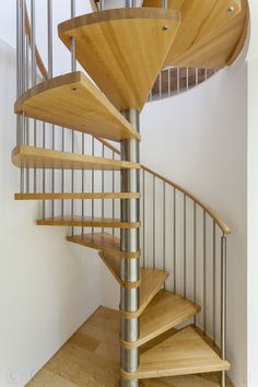Solid timber treads spiral stair