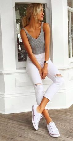 Simple and stylish outfit: grey ribbed tee + ripped white jeans | find more fashionable women's clothing on http://zefinka.com | street style - casual outfit idea - the latest 2016 fashion trends