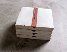 Concrete and Reclaimed Exotic Rosewood Coaster Set by INSEKDESIGN, $50.00:
