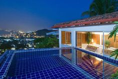 Evening view of the roof-top pool at Casa Ventana in Puerto Vallarta Mexico.