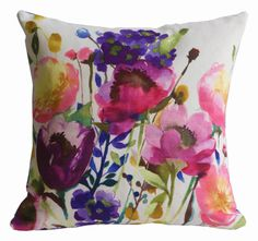 Brighten your home with linen designer cushions with bold colours and statement floral prints. Feel good design from Scottish textile company bluebellgray. Custom Pillows, Decorative Pillows, Scatter Cushions, Throw Pillows, Couch Cushions, Accent Pillows, Hand Painted Dress, Painted Silk, Bluebellgray