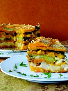 Layered Roasted Vegetable Torte by prouditaliancook: Colorful layers of roasted veggies stacked into a torte, a great presentation for your table. #Torte #Roasted_Veggies