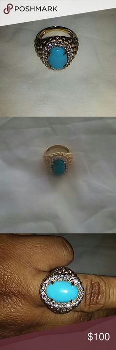 Women Ring Turquoise gold plated Art Deco.Vermeil retro collection Domed weave ring. New without tags Xavier Absolute  Jewelry Rings