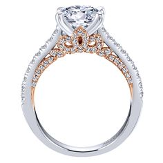 18k White/pink Gold Diamond Straight Engagement Ring | Gabriel & Co NY | ER11639R6T83JJ