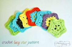Free Crochet Applique Patterns from My Merry Messy Life Crochet Star Patterns, Crochet Stars, Applique Patterns, Knitting Patterns Free, Sewing Patterns, Free Pattern, Lace Patterns, Crochet Flowers, Appliques Au Crochet