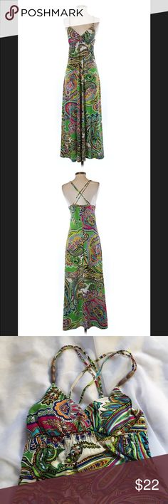 """Alyn Paige paisley maxi dress, size small Striking paisley fabric with bead embellished double straps, lightly padded cups, and smocked waist. Alum Page maxi dress in a size small. Bust 28"""", with a ton of stretch available, waist is empire style and also 28"""" with tons of stretch. Length from directly under bust to hem 42"""". From top of strap to hem 56"""". 💥Please use measurements provided and ask any questions you may have prior to purchase. I want happy customers! 😊 Alyn Paige Dresses Maxi"""