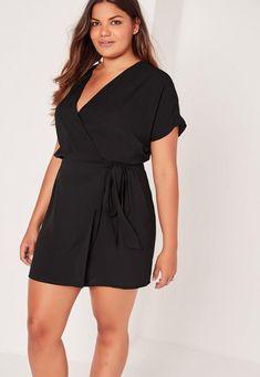 reputable site 5970c 473d4 Plus Size Kimono Sleeve Wrap Dress Black. Sexiga OutfitsKlänningar Stora  Storlekar