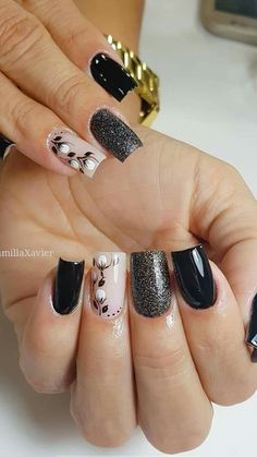 Unhas Fancy Nails, Cute Nails, Pretty Nails, Hair And Nails, My Nails, Flower Nails, Black Nails, Nail Arts, Manicure And Pedicure