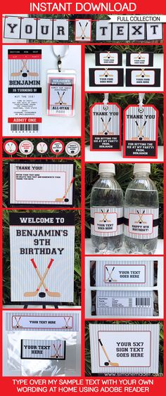 * INSTANT DOWNLOAD * Hockey Birthday Party Printables, Invitations & Decorations! Personalize the templates at home & get your Hockey Party started now!