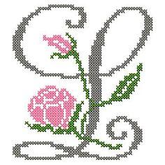 motif-Point de croix-Abc Rose anglaise-L