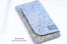 Handy Tasche Filz klappbar grau f. iPhone 4 5 6 pl von ❤formalana   ANNA ROSENSCHÖN❤                                                       made in Bonn mit ❤❤❤  auf DaWanda.com