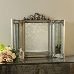 Silver Resin Ornate Dressing Table Triple Mirror Shabby French Chic Bedroom Home Dressing Table Triple Mirror, Dressing Mirror, Dressing Room, Shabby French Chic, Ornate Mirror, Vintage Mirrors, Cool Mirrors, Small Mirrors, Mirror Makeover
