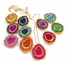 Colorful Beaded Pendant Necklace Bollywood by PrettyLittleChips