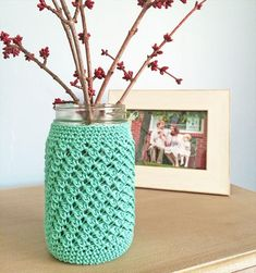 Quick Crochet Gifts,Mason Jar Crochet Cozy.