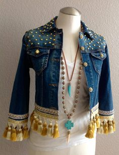 Richly embellished with gold tassels boho chic bohemian inspired one of a kind upcycled eco friendly size xs timeless jacket Denim Fashion, Boho Fashion, Fashion Outfits, Jean Diy, Estilo Hippie, Mode Jeans, Denim Crafts, Altered Couture, Denim And Lace