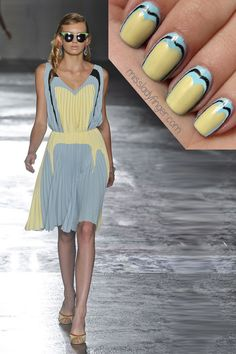 MANICURE MUSE: Prada Spring '12  Well, it was about time the infamous Pink Lady uniform be reinvented… thanks to Prada's Spring collection. For the Rizzos of the world, turn to the crop tops and leather pencil skirts with hot rod decals. And for wholesome Sandys, Prada serves up pleated frocks in frothy colors. Too many things excite me about this collection. You can definitely look forward to another Prada-inspired Miss Ladyfinger feature…  To emulate this look, I used Wor