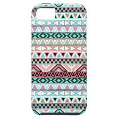 Andes Teal Pink Cute Pastel Abstract Aztec Pattern iPhone 5 Cover