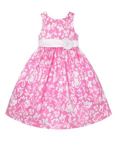 Pink & White Floral A-Line Dress - Girls
