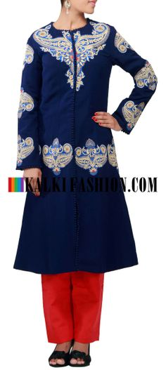 Buy Online from the link below. We ship worldwide (Free Shipping over US$100) http://www.kalkifashion.com/catalog/product/view/id/9646/s/blue-straight-fit-suit-featuring-in-resham-embroidery-only-on-kalki/ Blue straight fit suit featuring in resham embroidery only on Kalki