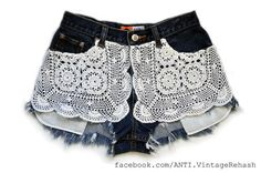 Upcycled Denim Jean Cut-offs with vintage doilies.