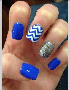 Blue chevron glitter nails
