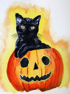 Halloween, aquarelle par Annie Collette Annie, Pumpkin Carving, Halloween, Art, Paint, Kunst, Halloween Labels, Spooky Halloween, Art Education
