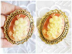 Victorian Flower BROOCH/Pendant, Pink &White Porcelain, Antique Gold Tone, Art Deco Design, Item No. B053 by ESTATENOW on Etsy https://www.etsy.com/listing/87892829/victorian-flower-broochpendant-pink