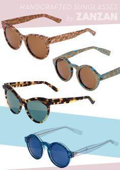 Handcrafted sunglasses by Zanzan via thedesignfiles.net