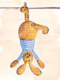 Cuadro bebe conejo o conejito de peluche, pintado a mano con pintura y acuarela, para la habitación o cuarto de los más pequeños de la casa