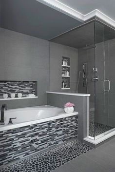 Gray Bathroom // Built In Shelves (I would choose a different tile around the tub)