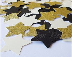 Party Confetti, Stars, Gold Glitter, Black And Ivory, Table Scatter, Weddings, Bridal Shower, New Year's Eve Party, 150 Piece, FREE SHIPPING