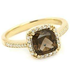 Cushion Smokey Brown Topaz & Diamond Fashion by JewelryPoint, $459.00
