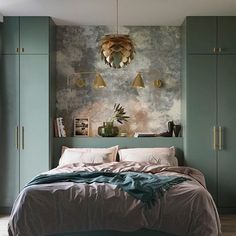 SUNDAY SLUMBER ...... Wish we could shelter from the wind and rain in this beautiful bedroom with gentle shades of green and pink combined with the shiny brass of our Silvia lampshade. Particularly like how the brass shade picks up reflections of the stunning colour palette.  #brasslighting #lumisonlighting #brightideas   Photo credit: @stellarstudio @vitacopenhagen