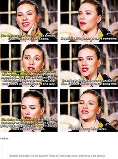 "Scarlett Johansson onthe acronym ""Scar Jo"" her husky voice and being a sex symbol"