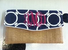 Caught Ya Lookin' - Navy and Straw Madison Clutch
