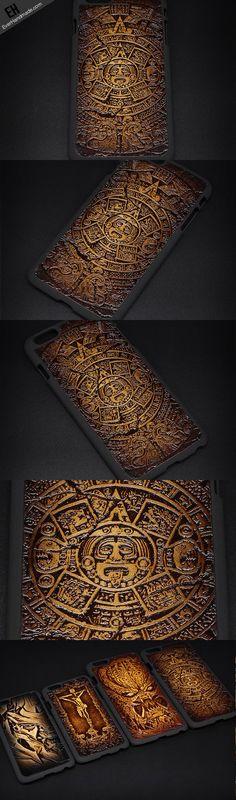Handmade leather Mayan solar calendar carved leather plastic