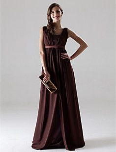 A-line V-neck Sleeveless Floor-length Chiffon Bridesmaid/Mot... – USD $ 97.99