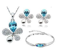 White GP Fashion Jewellery Set Blue Crystal Clover Necklace, Earring & Bracelet
