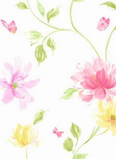 Pink and White Soleil Floral Wallpaper, SBK22202