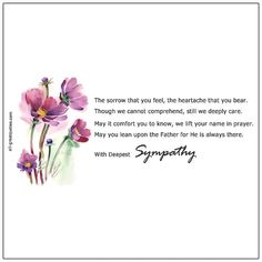 Condolence Deepest Sympathy Cards With Beautiful Messages. Share these lovely sympathy, condolences cards with grief stricken family and friends. Sympathy Card Messages, Birthday Poems, Deepest Sympathy, Grief Loss, Condolences, Inner Strength, In Loving Memory, Wish, Prayers