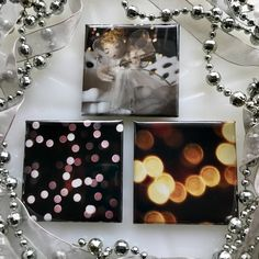 Set of 3 Photographic Square Refrigerator Magnets Christmas Lights with Angel Hostess Gift Christmas Birthday Original Photography by EveryBeautifulDay on Etsy