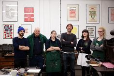 Our 'Stitchable Change-makers' team at The Letterpress Collective, Bristol (right to left: Megan Krawielitzki on work experience, Sarah Corbett Founder of Craftivist Collective, Nick Hand founder of Letterpress Collective, Ellen Bills letterpress apprentice, Dave Thomlinson 70years old with 50 years experience as a letterpress workers & honorary member Tom Herbert of TV's Baker Brothers who enjoyed watching the process whilst waiting for his business cards to be made hehe!