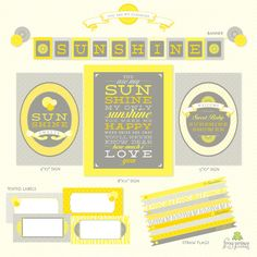 you are my sunshine shower theme printables