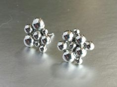 Silver Bubbles Post Earrings, handmade; sterling silver, granulation, fused, fabricated.