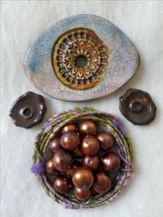 Now I couldn't let the Staci Louise Original focal to Bev go unescorted, so I included some copper colored pearls, Woolywire, and Marsha Neal ceramic discs to keep the focal company. Pearl Color, Copper Color, Soup, Bead, Pearls, Pony Beads, Beads, Soups, Beading