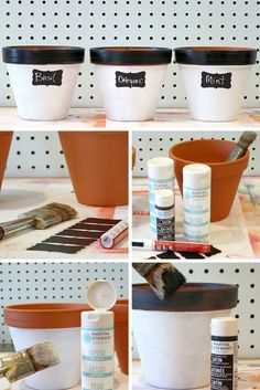DIY Steps | Make these Painted Clay Pots and label your herbs | Bright Bold and Beautiful